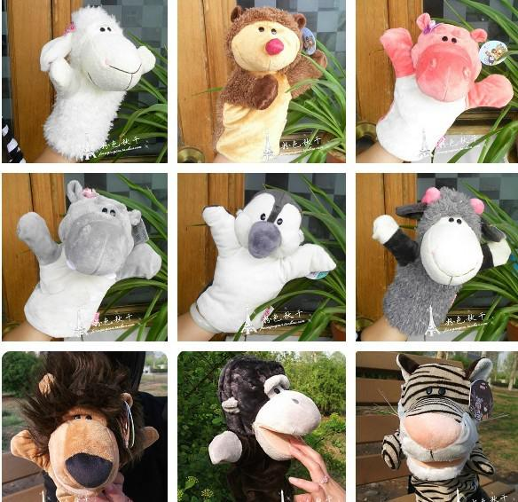 top popular New Nici Hand puppets 18 designs forest animals hand puppet 10 inch Tiger,Monkey,Lion,Deer ,Donkey, 2020