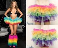 Wholesale Womens Clubwear Sexy Minis Skirts - Sexy Puff Mini Skirts Womens Tulle Rainbow Short Saias femininas tropical faldas belly dancewear clubwear clothing free shipping wholesale
