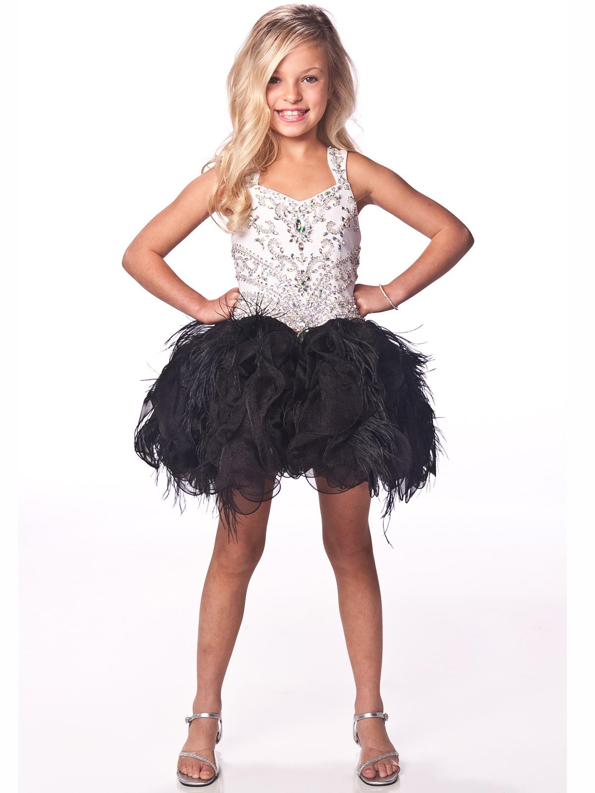2013 White And Black Beads Crystal Kids Dresses Feather Organza ...