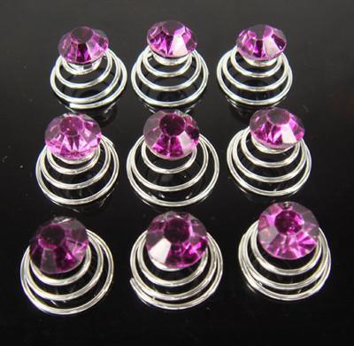 Fahsion Bijoux De Fête De Mariage Violet Cristal Cheveux Twists Spins Pins Pour Les Femmes