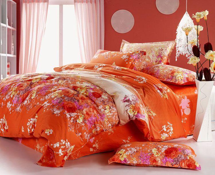 Orange Red Pink Yellow Peony Flower Cotton Queen Size Duvet Quilt Doona Cover Bed Set