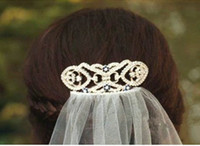 Wholesale Bridal Veil Hair Clip - Hot Sale Bridal Hair Accessories Women Luxury Crystal Rhinestone Hair Clips Headwear for Bridal Veil