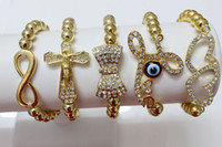Wholesale Rhinestone Bow Sideways - 12pcs Mixed Plated SideWays Cross Infinity Heart Bow Tie Crystal Rhinestones Bracelet Connecor beads