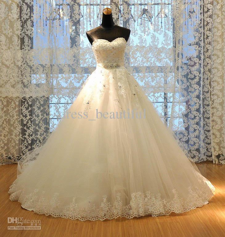 Actual Image 2016 New Wedding Dress Tulle Strapless Sweetheart Lace ...