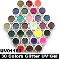 Hong Kong Post Mail Freeshipping-30 colori Glitter polvere UV Gel UV Nail Art suggerimenti estensione Deco