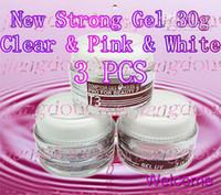 Wholesale Gel Ibd Pink White - 3 PCS T3 Professional Nail Builder UV Gel Clear + Pink + Ultra White 30g PK IBD! Unconditional Retur