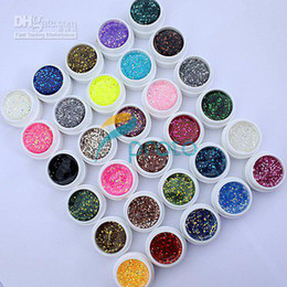 Wholesale Tips For Clear Nails - Hong Kong Post Mail Freeshipping-30 Colors UV Gel with Mix Glitter Paillette for UV Nail Art Tips Ex