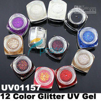 Hong Kong Post Mail Freeshipping-12 colori Glitter UV Gel UV Nail Art Tips decorazione di estensione