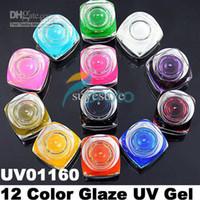 Wholesale Post Uv Gel - Hong Kong Post Mail Freeshipping-2sets lot12 Colors Glaze UV Gel for UV Nail Art Tips Extension Deco