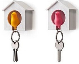 Wholesale Sparrow House Key Chain Ring - Best HOT 20pc New Hot Bird Nest Sparrow House Key Chain Ring Chain Wall Hook Holders Plastic Whistle
