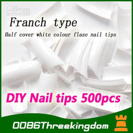 Wholesale Natural French Manicure - [FRENCH manicure] 3x500 Pcs Sharp white Color False Acrylic Gel French Nail Art half Tips guides Sal