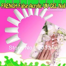 acrylique à ongles blanc Promotion Haute Qualité 500pcs WHITE FRENCH False Acrylic UV UV GEL Nail Tips, 1 set comme ordre de minume, rapide et gratuit