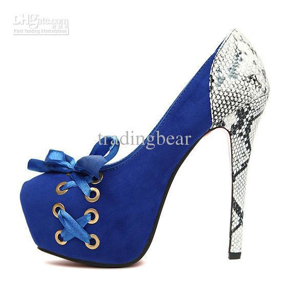Adorable High Heel Pumps Shoes Royal Blue Pink Black High Platform ...