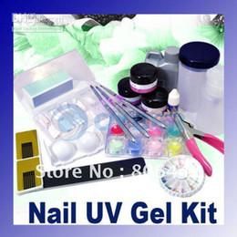 Wholesale Home Nail Acrylic Set - Nail Kit Full Acrylic Powder Liquid UV Gel Set Manicure Glue File Professional or home use free ship
