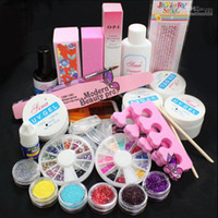 Pro voll Acryl Glitter Pulver Klebstoff French Nail Art UV Gel Tip Kit Set #168