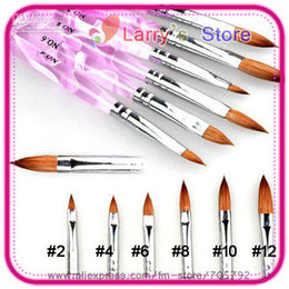 Wholesale Acrylic Brushes Sable - 6 Pieces Set Different Size No. #2 4 6 8 10 12 Professional Acrylic Nail Art Tip Brush Pen AR5 Sable
