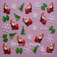 Wholesale Holiday Nail Art Stickers Decals - 3D Decal Christmas designs nail sticker Holidays XMAS Nail Art Decoration sticker 500pcs l
