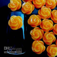 Wholesale Resin Rose Decals - 500pcs 8mm orange small rose flower resin nail decoration Manicure