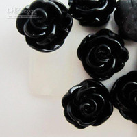 Wholesale Resin Rose Decals - 500pcs 13mm black small rose flower Resin material accessories for iphone4 case dec