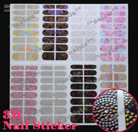 Wholesale Stickers 3d Rhinestone - Freeshipping - NEW 3D Nail Bling Rhinestone Sticker   3D nail patch ( 54 style )