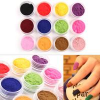 Wholesale 3d Nail Molds - Brand New 12 Color 3D Nail Art Flocking Powder Nails Velvet Art Set 12pcs lot Dropshipping
