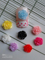 Wholesale Resin Rose Decals - Free Shipping 3D 200pcs bag Small 8colors Rose Shape Resin Decoration Lovely Nail Art Decorations Ce
