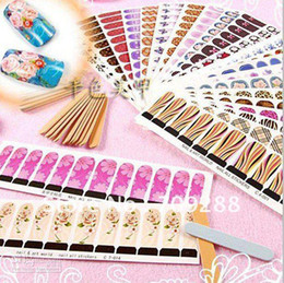 Wholesale Professional Nail Art Decals Wholesale - Professional Nail Art Sticker Decal 50pcs Lot Full Cover Tips Water Decal Sticker All Different Desi
