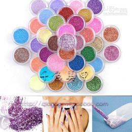 Wholesale Fine Nail Glitter Powder - FreeShipping High Quailty Shine Glitter Powder Nail Art 45 colors Fine Glitter Dust Set 045