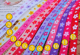 "Wholesale Ribbon 9mm Flower - hot 3 8""(9mm) 12color lovely cute flowers 100yard children HairBow DIY grosgrain stitched ribbons"