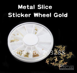 Wholesale Gold Metal Sticker Slices Wheel - Mixed Design Nail Art Decoration Dazzling Tips Metal Slice Sticker Wheel Gold