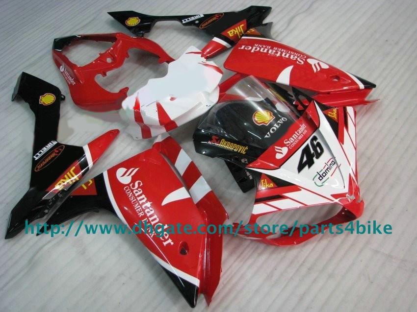 Обтекатель комплект для YAMAHA YZFR1 07 08 YZF-R1 07 YZF R1 2007 2008 обтекатели Сантандер красный белый корпус RX5z