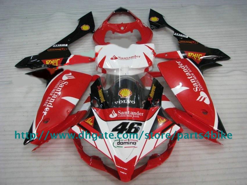 Kit de justo para Yamaha YZFR1 07 08 YZF-R1 07 YZF R1 2007 2008 Fairings Santander Red White Body Rx5Z