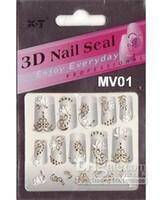 Wholesale Three Dimensional Nail Art - Series diy fashion three-dimensional 3d finger applique Nail Sticker 3d nail art mv gold series mixe