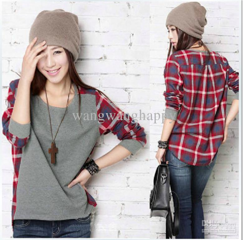 2017 Women'S Plaid Shirt Casual Long Sleeve Loose Top Shirt Free ...