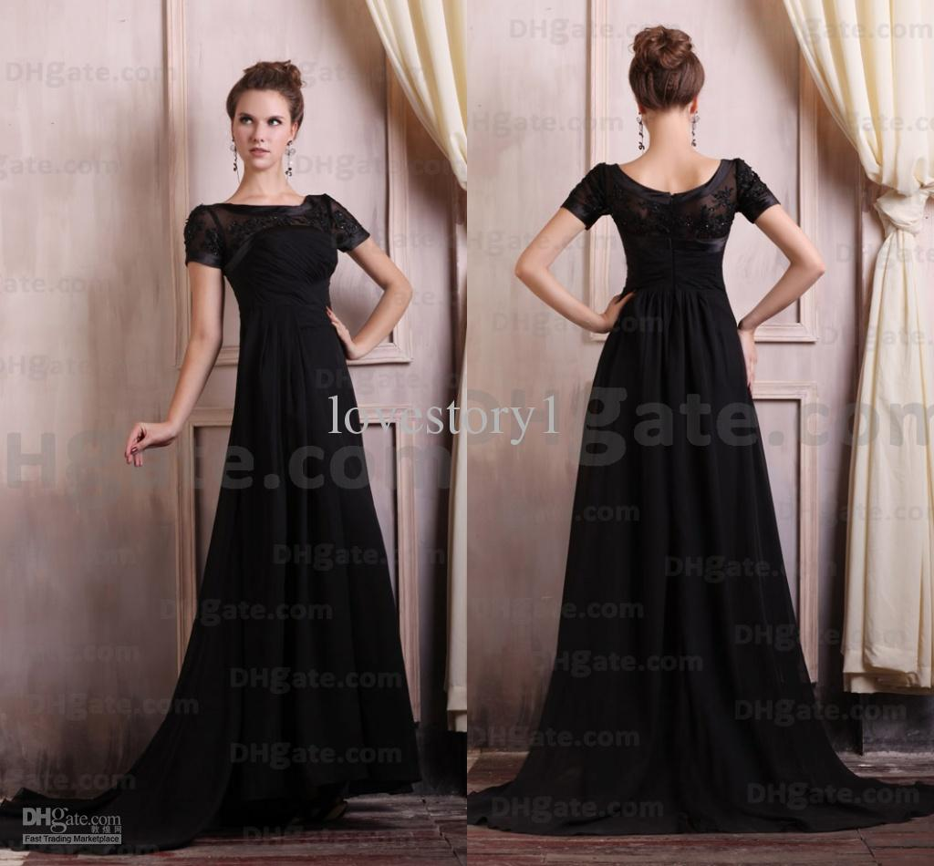 Glamorous Short Sleeves Black Embroidery A Line Long Evening Dresses ...