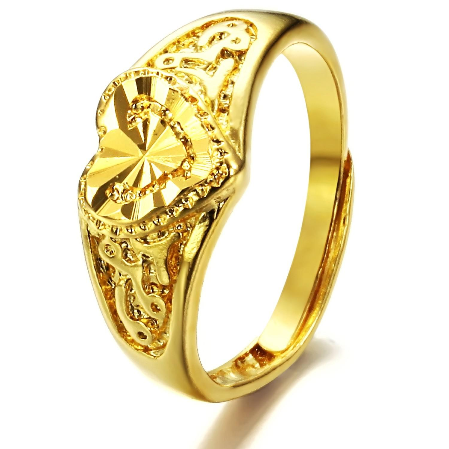 2018 Hot Sale Plating 18k Yellow Gold Rings Adjustable Wedding Ring