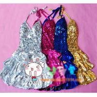 Wholesale Women Dancing Mini Skirts - Women Girls Halter Sequin V-neck Latin Dance Party Mini Short Cake Dress