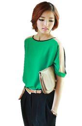Wholesale Dress Korean Chiffon Fashion Woman - 702 free shipping 2016women new fashion korean color block loose gauze chiffon blouses ladies summer t shirts dress tops plus size S,M,L,XL