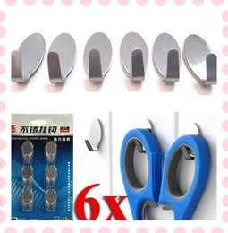 Wholesale Stick Stainless Hooks - 6x Home Kitchen Wall Stick Hook Door Self Adhesive Stainless Steel Holder Hanger Set