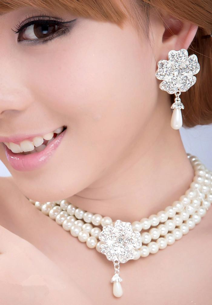 fad8a1ed362b7 Fashion Bridal Necklace Earrings Bracelet Jewelry Set Pearl Rhinestone  Wedding Jewelry Bridal Costume Accessories Party Festive Supplies