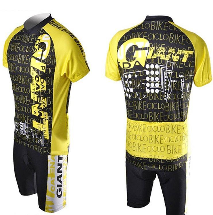 Nieuwe fietsende gigantische comfortabele gele en zwarte buitenfiets jersey + shorts fiets GY13 S - 3XL
