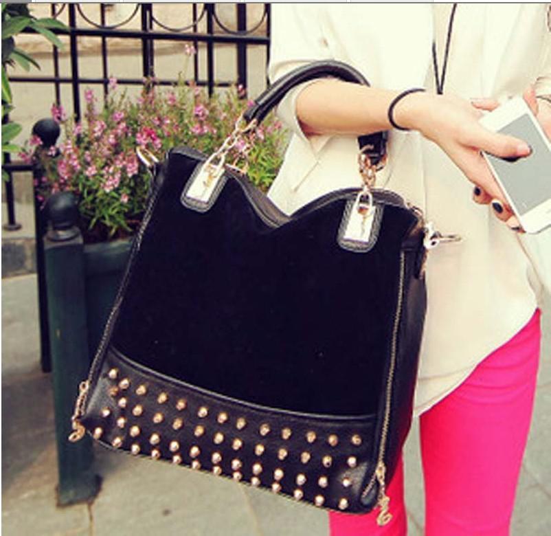 Sale Women Female Fashion Scrub Rivet Bag Messenger Bag Multi ...