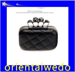 Wholesale Small Skull Rhinestones - HOT Free shipping fashion Skull bag with , rhinestone clutch bag, PU leather purse,skeleton bag top sale free shipping