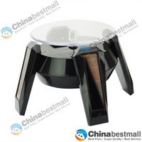Wholesale Turntable Display For Jewelry - Solar Powered Rotating Display Stand Turn Table Turntable Platform For Jewellery Wristwatches Cell phones Camera Black   White