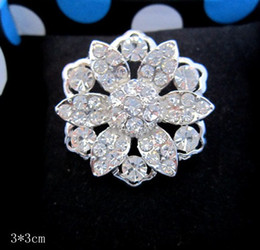 Wholesale White Flower Pins Brooches - Rhodium Silver Plated Clear Rhinestone Crystal Flower Pin brooch