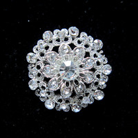 Wholesale Wholesale Small Clear Plates - Silver Plated Clear Rhinestone Crystal Diamante Small Flower Brooch Party Prom Jewelry Pin