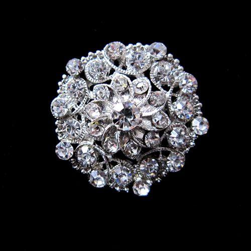 Bella spilla a forma di fiore con strass in cristallo placcato argento