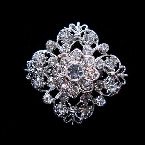 1,25 pouce en métal argenté brillant cristal strass en verre clair jolie fleur broche collier