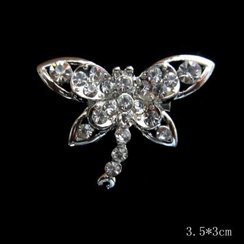 Spilla con spilla a forma di libellula da damigella d'onore con strass in cristallo color argento