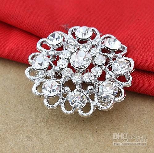 Brillante plata plateada claro Rhinestone Crystal Diamante Nice diseño pequeña flor corazón broche Party Prom regalo pines